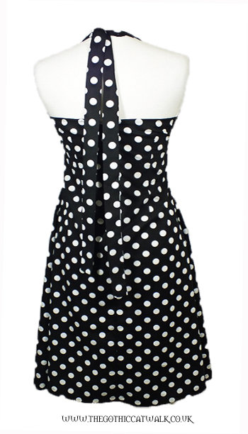 Plus Size Black & White Polka Dot Halter Neck Dress