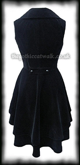 Long Black Velvet Sleeveless Waistcoat Jacket