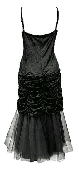 Black Velvet & Tulle Long Victorian Gothic Dress - Prom