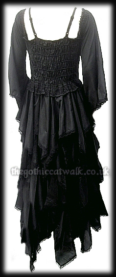 Long Black Gothic Silk Dress - Detachable Sleeves