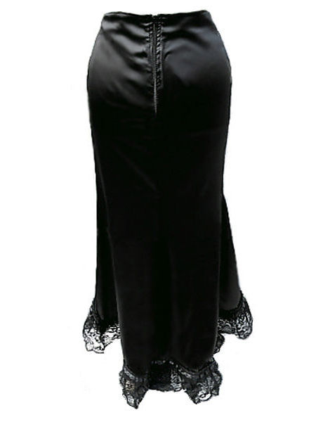 Plus Size Long Black Satin Vampy Mermaid Skirt