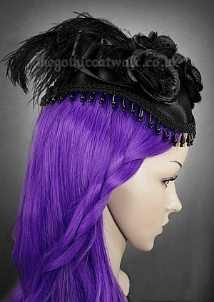 Black Victorian Gothic Beaded Hat with Feathers and Roses