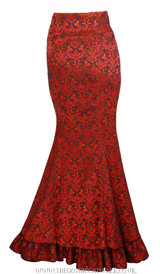 Red Damask Gothic Victorian Mermaid Corset Skirt