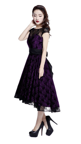 Purple Lace Cocktail Dress