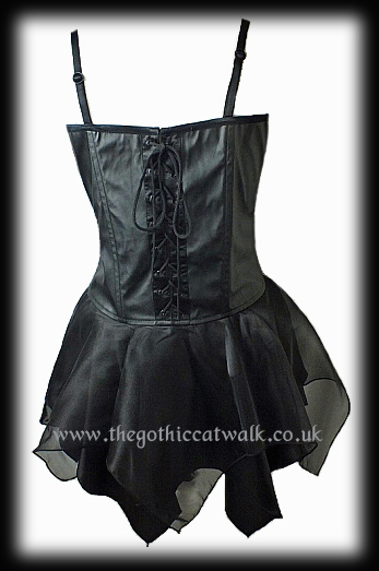 Black PVC Gothic Corset Dress with Organza