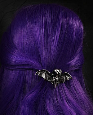 Winged Crow's Skull Pewter Hairclip