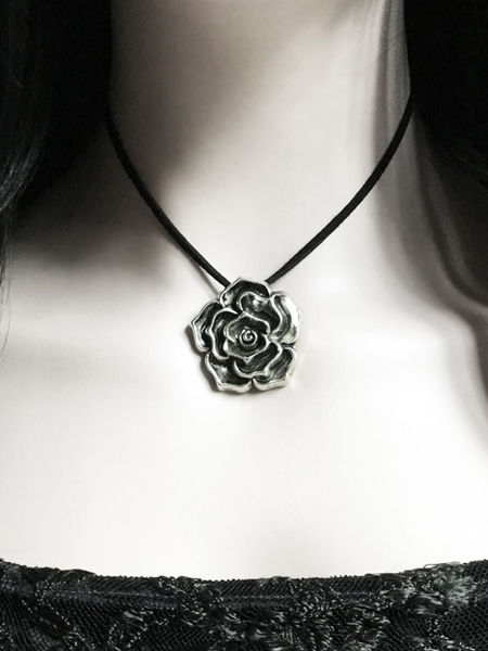 Large Silver Rose Necklace