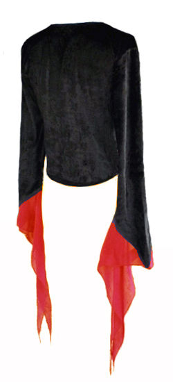 Black Velvet Gothic Top with Red Chiffon Cuffs