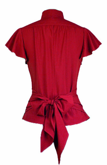 Red Gothic Blouse with Gathered Button Through Front