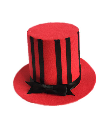 Gothic Burlesque Red and Black Mini Top Hat