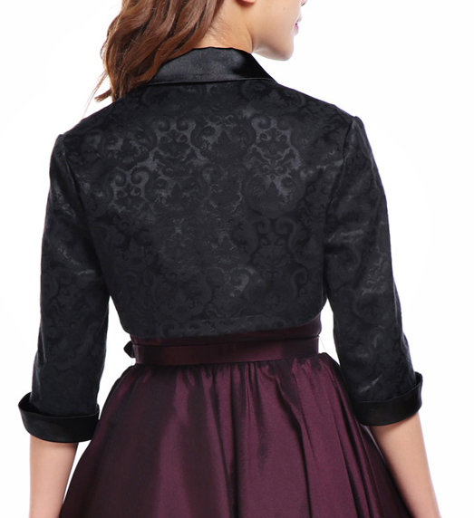 Plus Size Black Damask Gothic Bolero Shrug