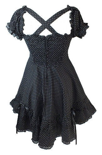 Hell Bunny Black & White Polka Dot Angelica Dress
