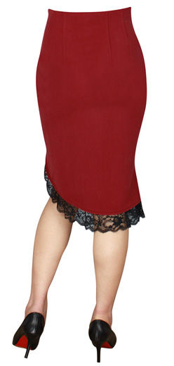 Short Red Gothic Skirt with Lace Hem