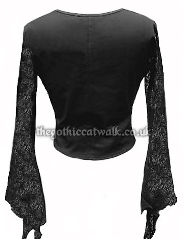 Black & Green Cobweb Lace Gothic Buckle Corset Top