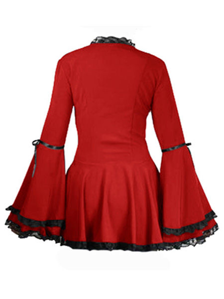 Long Flared Red Gothic Corset Top