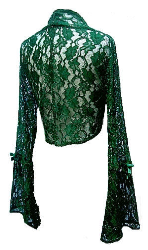 Green Lace Gothic Shrug Bolero Top