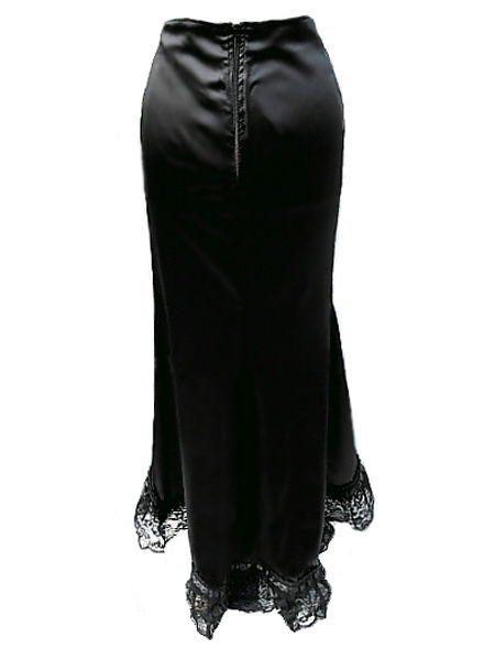 Long Black Satin Vampy Mermaid Skirt