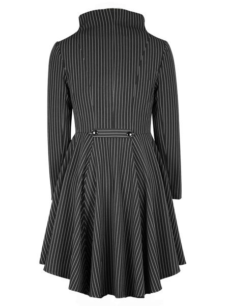Black and White Pinstripe Gothic Waterfall Frock Jacket