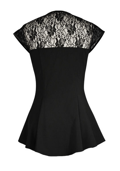Black Gothic Top with Lace Yoke and Sleeves