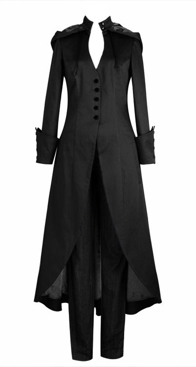 Long Black Gothic Coat with Hood and Corset Back