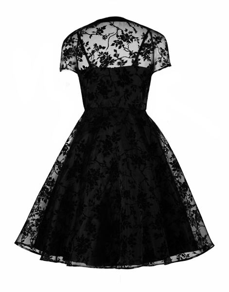 Two Piece Black Gothic Dress with Flocked Velvet Overdress