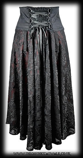 Black & Red Gothic Victorian Steampunk Skirt with Corset Panel