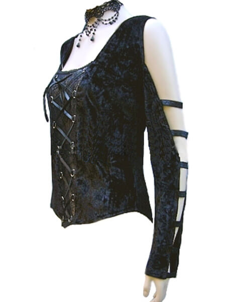 Black Velvet Gothic Top with Strappy Sleeves