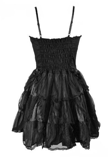 Black Silk & Net Gothic Roses Corset Dress