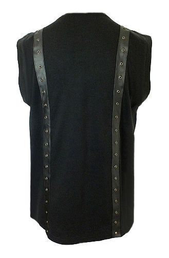 Men's Gothic Punk Black Top with PVC Detail