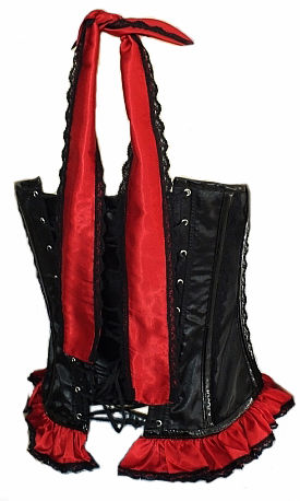 Gothic Burlesque Corset Black & Red Satin Halter Neck