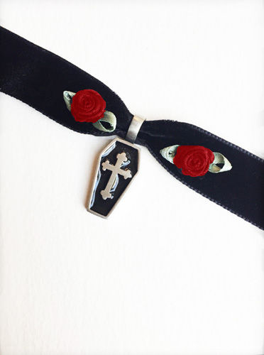 Black Velvet Choker with Coffin and Red Roses