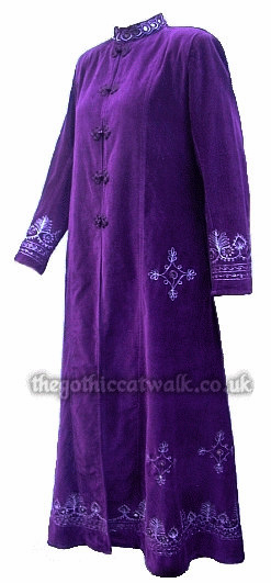 Long Purple Velvet Hippy Goth Coat with Embroidery