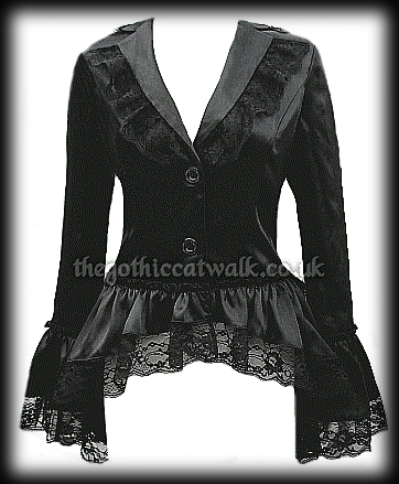 Black Satin & Lace Gothic Burlesque Corset Bustle Jacket