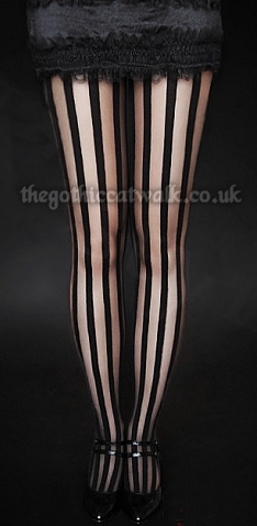 Gothic Burlesque Vertical Striped Tights