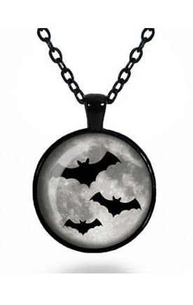 Three Flying Bats Glass Cameo Gothic Necklace