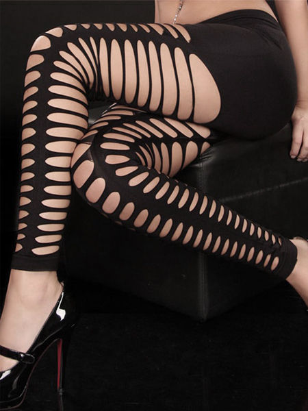 Gothic Punk Wide-Hole Black Footless Tights