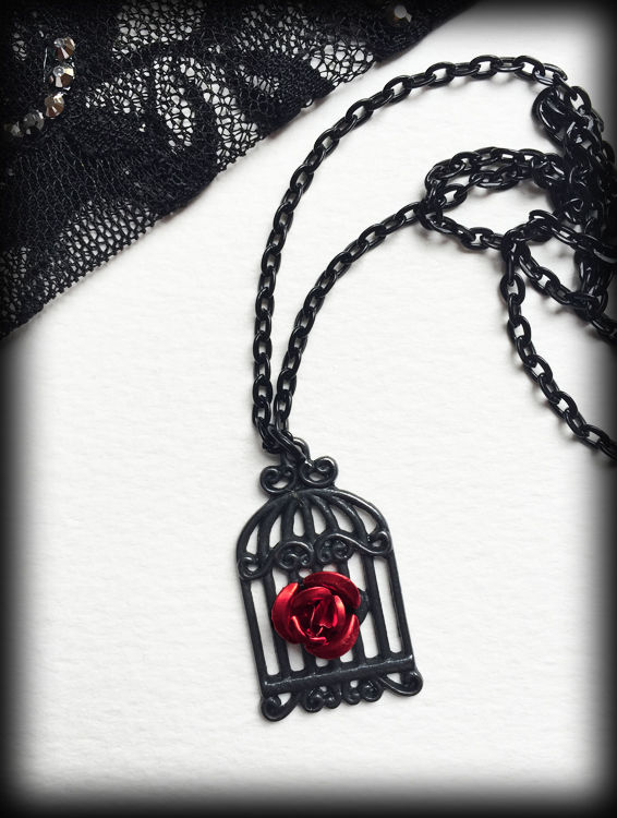 Gothic Victorian Birdcage & Red Rose Necklace