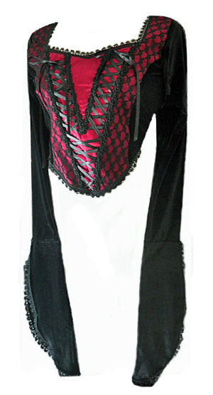 Black & Red Gothic Medieval Ribbon Bodice Top