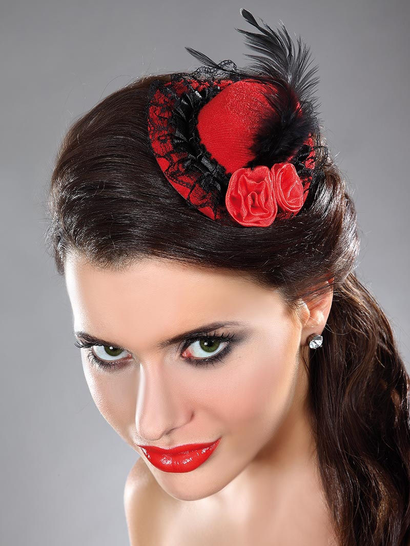 Gothic Burlesque Red & Black Mini Hat with Feathers & Roses