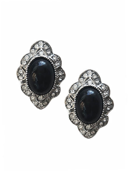 Black Cabochon and Diamante Gothic Victorian Earrings