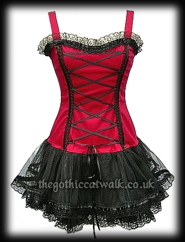 red  black gothic punk corset tutu dress  prom  women's