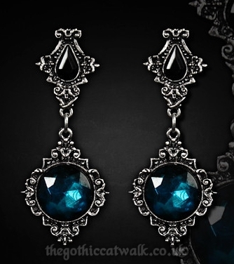 Gothic Victorian Pewter Lenore Earrings - Cyan