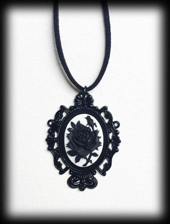 Gothic Victorian Black Rose Cameo Necklace