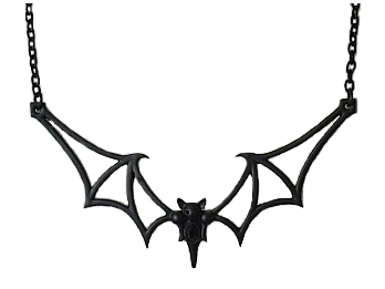 Large Black Metal Bat Necklace