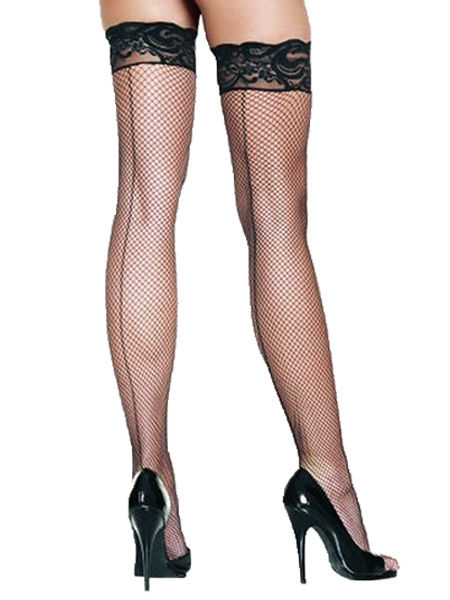 Black Fishnet Hold Ups with Back Seam