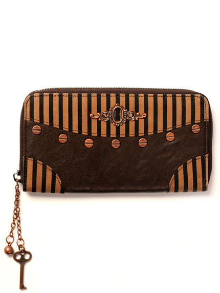 Banned Gothic Steampunk Black & Brown Striped Wallet