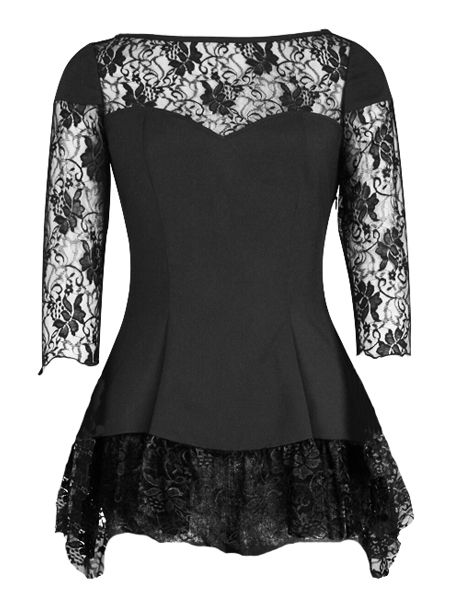Black Lace Gothic Top with Lace Sleeves
