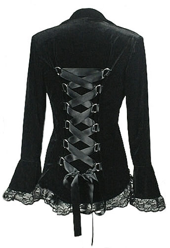 Black Velvet Gothic Victorian Fitted Corset Jacket