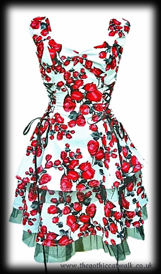 Red Roses Vintage Style Summer Dress - White