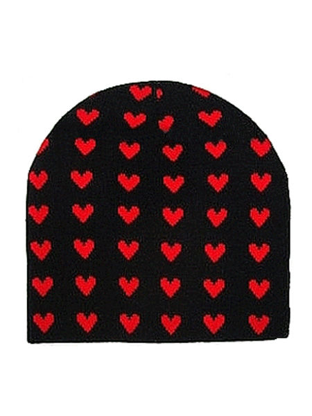 Black Beanie Hat with Red Hearts